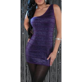 SEXY KNITTED ONE-SHOULDER MINIDRESS WITH SEQUINS PARTY PURPLE
