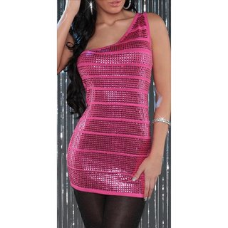 SEXY KNITTED ONE-SHOULDER MINIDRESS WITH SEQUINS PARTY FUCHSIA