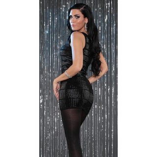 SEXY KNITTED ONE-SHOULDER MINIDRESS WITH SEQUINS PARTY BLACK