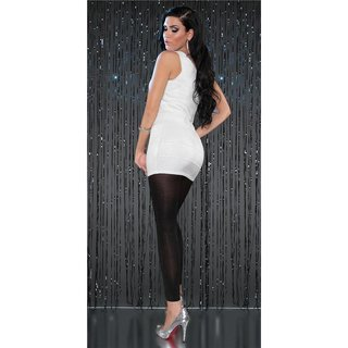 SEXY KNITTED ONE-SHOULDER MINIDRESS WITH SEQUINS PARTY WHITE