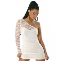 ELEGANT ONE-SHOULDER MINIDRESS WITH LACE WHITE
