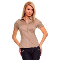ELEGANT SHORT-SLEEVED BLOUSE BROWN