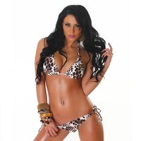 SEXY HALTERNECK BIKINI BEACHWEAR LEOPARD LOOK WHITE/BROWN