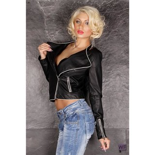 Sexy biker jacket in leather look with zipper black