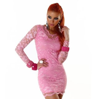 Sexy long-sleeved lace mini dress pink