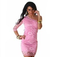 SEXY ONE-SHOULDER LACE EVENING DRESS PINK