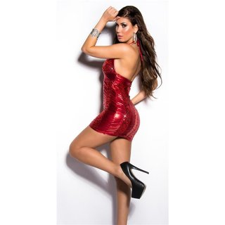Sexy mini dress with sequins wet look party clubwear red