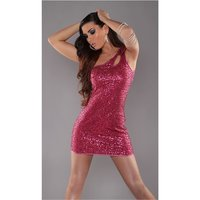 SEXY ONE-SHOULDER MINIDRESS WITH SEQUINS WET LOOK PARTY...