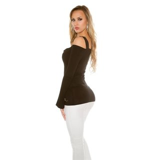Elegant long-sleeved shirt long shirt rhinestone look black