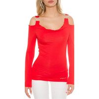 Elegant long-sleeved shirt long shirt rhinestone look red