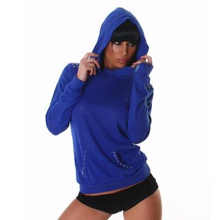 ELEGANT FINE-KNITTED SWEATER WITH RIVETS HOOD BLUE