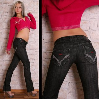 SEXY LOW CUT BT JEANS SCHWARZ