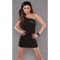 SEXY ONE-SHOULDER MINIDRESS PARTY DRESS WITH SEQUINS BLACK