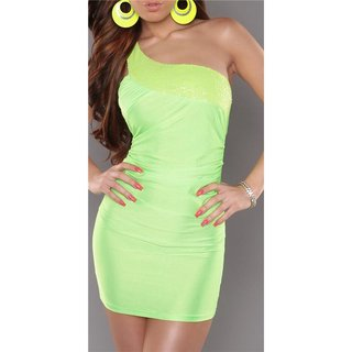 SEXY ONE-SHOULDER MINIDRESS PARTY DRESS WITH SEQUINS NEON-GREEN