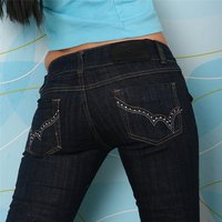 SEXY LOW-CUT BT JEANS DARK DENIM WITH RHINESTONES DARK BLUE