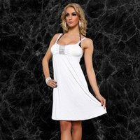SEXY STRAP DRESS MINIDRESS WITH GLITTER-RIBBON WHITE