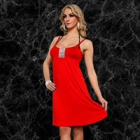 SEXY STRAP DRESS MINIDRESS WITH GLITTER RIBBON RED