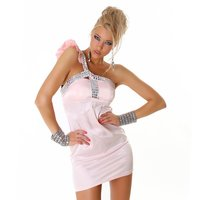 ELEGANT ONE-SHOULDER SATIN EVENING DRESS MINIDRESS PINK