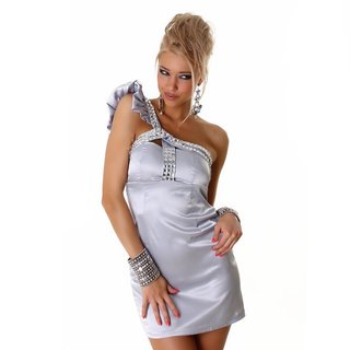 Elegant one-shoulder satin evening dress mini dress silver