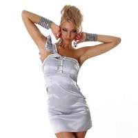 ELEGANT ONE-SHOULDER SATIN EVENING DRESS MINIDRESS SILVER
