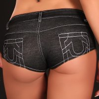Sexy Hotpants Jeans-Look mit Zipper Gogo Club Schwarz 38