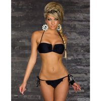 Sexy halterneck bikini beachwear with frills black UK 12 (M)