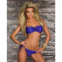 SEXY HALTERNECK BIKINI BEACHWEAR WITH FRILLS PURPLE UK 10...