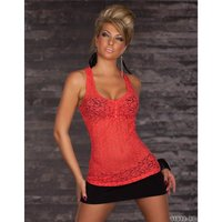 Sexy Tanktop Top aus Spitze Coral 36/38