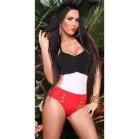 Sexy halterneck monokini beachwear black/white/red UK 10 (M)