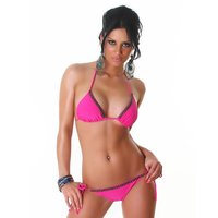 Sexy halterneck bikini with pearls beachwear fuchsia UK...