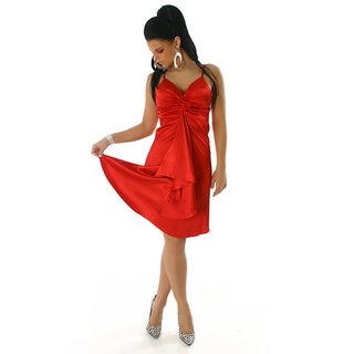 GLAMOUR SATIN EVENING DRESS RED