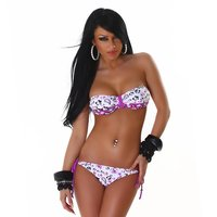 Sexy halterneck bikini beachwear purple/white UK 10 (S)